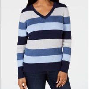 KAREN SCOTT    NWT striped vneck sweater